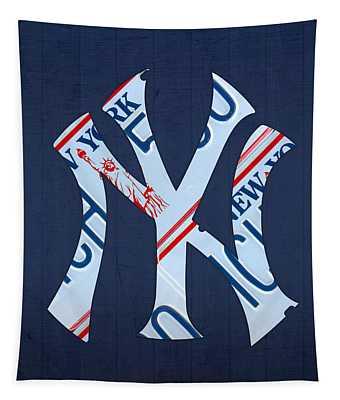 New York Yankees Baseball Team Vintage Logo Recycled Ny License Plate Art Tapestry
