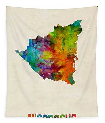 Nicaragua Watercolor Map Tapestry