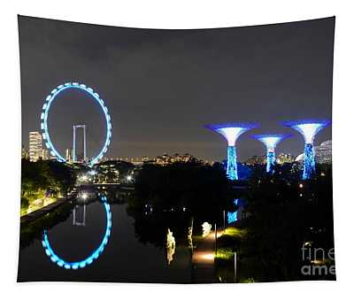 Night Shot Of Singapore Flyer Gardens By The Bay And Water Reflections Tapestry