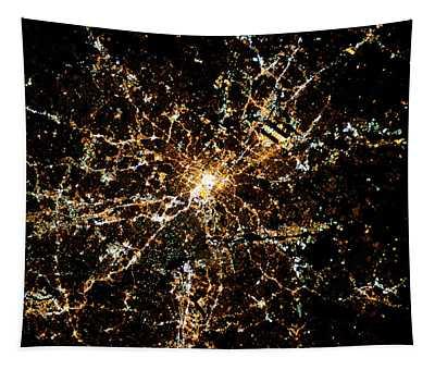 Night Time Satellite Image Of Atlanta Tapestry