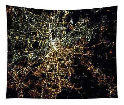Night Time Satellite Image Of Berlin Tapestry