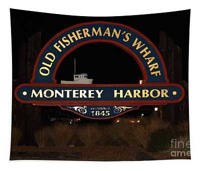 Nightfall At The Old Fishermans Wharf At The Monterey Harbor California 5d25175 Tapestry