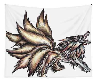 Nine Tails Wolf Demon Tapestry