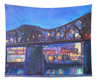 City At Night Downtown Evening Scene Original Contemporary Painting For Sale Tapestry