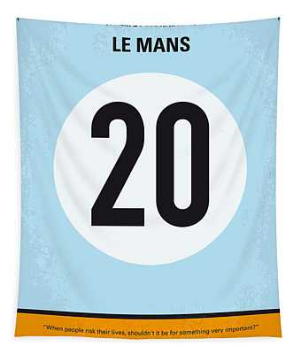 No038 My Le Mans Minimal Movie Poster Tapestry
