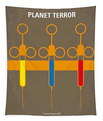 No165 My Planet Terror Minimal Movie Poster Tapestry