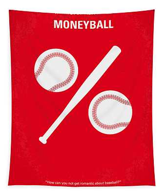 No191 My Moneyball Minimal Movie Poster Tapestry