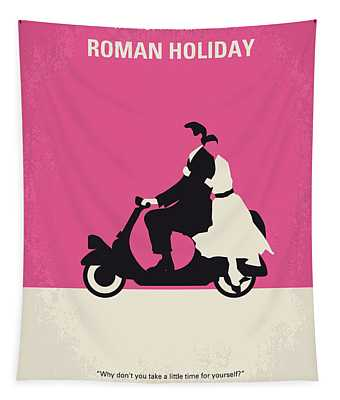No205 My Roman Holiday Minimal Movie Poster Tapestry