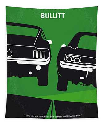No214 My Bullitt Minimal Movie Poster Tapestry