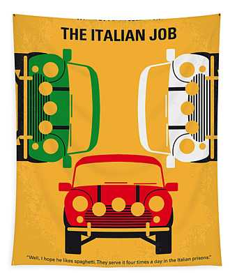 No279 My The Italian Job Minimal Movie Poster Tapestry