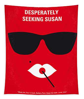 No336 My Desperately Seeking Susan Minimal Movie Poster Tapestry