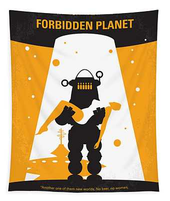 No415 My Forbidden Planet Minimal Movie Poster Tapestry