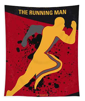 No425 My Running Man Minimal Movie Poster Tapestry