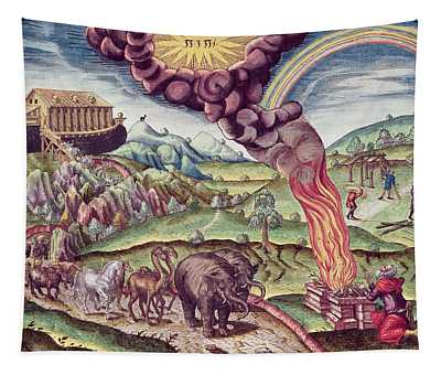 Noahs Ark, Illustration From Brevis Narratio..., Published By Theodore De Bry, 1591 Coloured Tapestry
