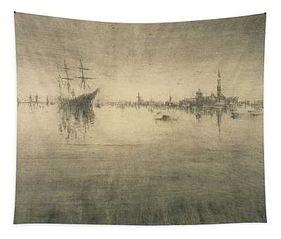 Boat Silhouette Drawings Wall Tapestries
