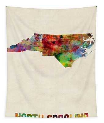 North Carolina Watercolor Map Tapestry