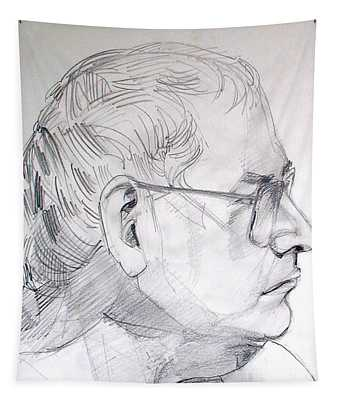 Graphite Portrait Life Drawing Sketch Not So Young Anymore Tapestry