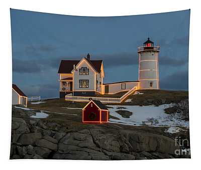 Nubble Lighthouse At Christmas Tapestry
