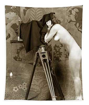 Nude In High Heel Shoes With Studio Camera Circa 1920 Tapestry