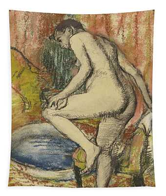 Nude Woman Wiping Herself After The Bath Tapestry