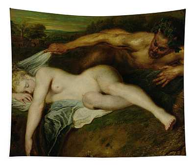 Nymph And Satyr Tapestry