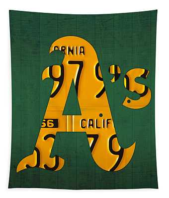 Oakland Athletics Vintage Baseball Logo License Plate Art Tapestry