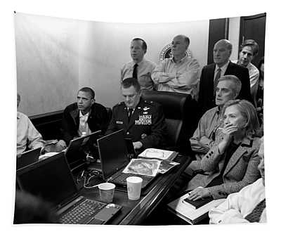 Obama In White House Situation Room Tapestry