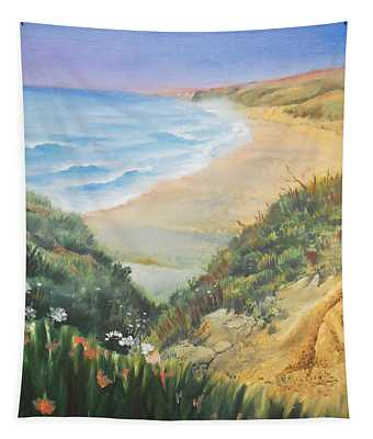 Ocean Shore Through The Hills Tapestry