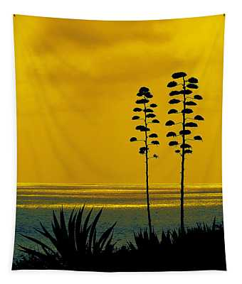 Ocean Sunset With Agave Silhouette Tapestry