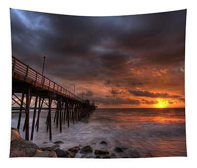 Oceanside Pier Perfect Sunset Tapestry