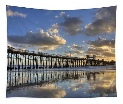Oceanside Pier Sunset Reflection Tapestry