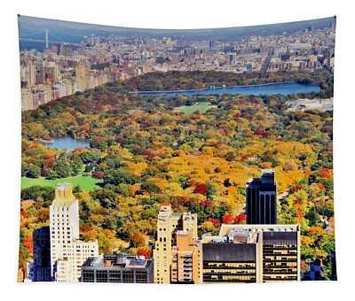 October Glow In Central Park Manhattan Skyline Tapestry