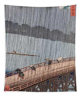 Ohashi Sudden Shower At Atake Tapestry