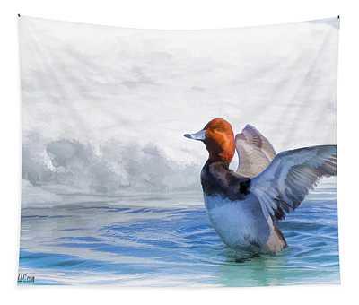 Oil Paint Redhead Duck Bath Tapestry