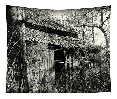 Old Barn In Black And White Tapestry