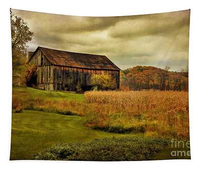 Old Barn In October Tapestry