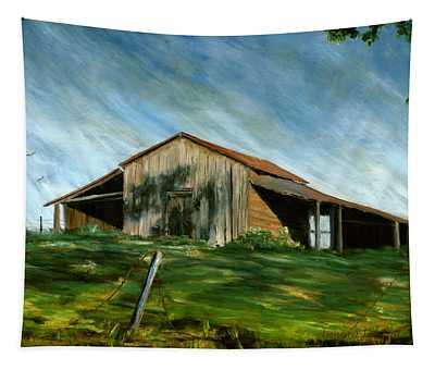 Old Barn Landscape Art Pleasant Hill Louisiana  Tapestry