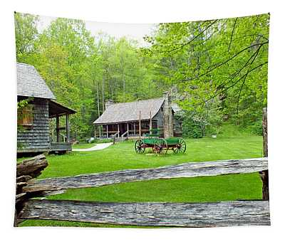 Old Cabins At The Cradle Of Forestry Tapestry