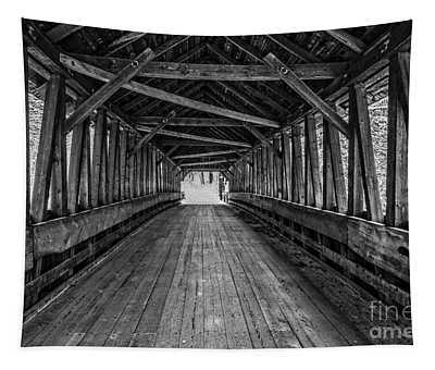 Old Covered Bridge Winter Interior Tapestry