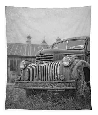 Old Farm Truck Out By The Barn Tapestry