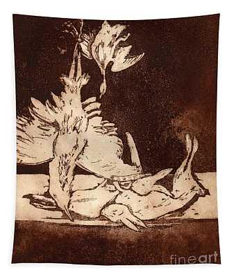 Old Masters Still Life - With Great Bittern Duck Rabbit - Nature Morte - Natura Morta - Still Life Tapestry