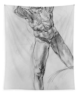 Old Masters Study Nude Man By Annibale Carracci Tapestry