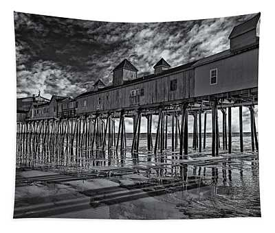 Tapestry featuring the photograph Old Orchard Beach Pier Bw by Susan Candelario