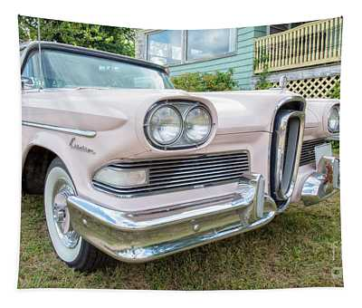 Old Pink Edsel Car In Front Of Old House Tapestry