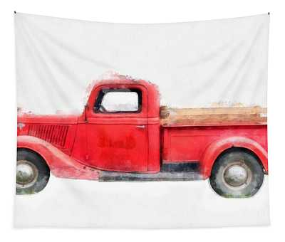 Old Red Ford Pickup Tapestry