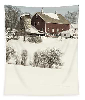 Old Red New England Barn In Winter Tapestry