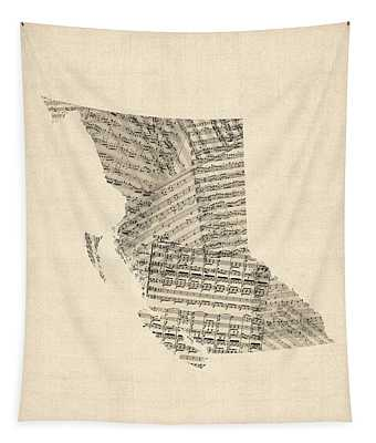 Old Sheet Music Map Of British Columbia Canada Tapestry