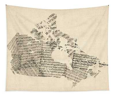 Old Sheet Music Map Of Canada Map Tapestry