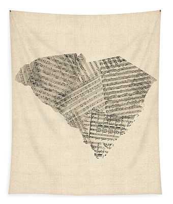 Old Sheet Music Map Of South Carolina Tapestry