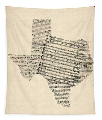 Old Sheet Music Map Of Texas Tapestry